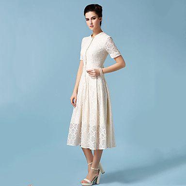 Women's+Vintage/Party/Maxi+Micro-elastic+Short+Sleeve+Maxi+Dress+(Chiffon)+–+USD+$+32.99
