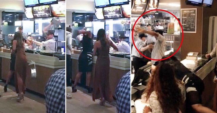 Estas chicas enloquecieron, no se sabe si porque tenían hambre o el mal servicio en un McDonald's, e iniciaron una épica batalla de comida y jalones de pelo