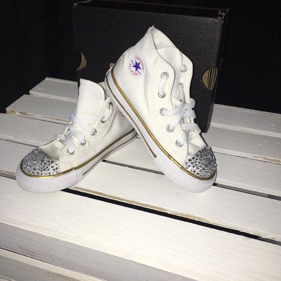 White & Gold Custom Converse Rhinestone Converse by OwlBehave