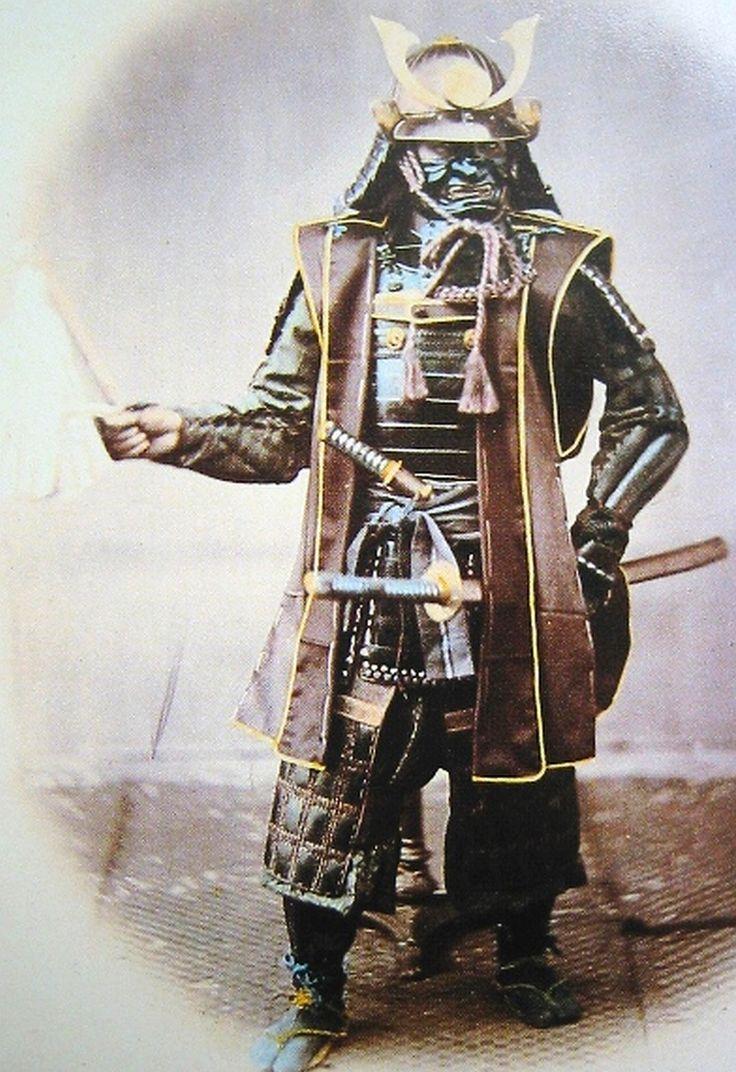 Felice Beato - Samurai con armadura y jinbaori (chaleco-casaca militar) - Siglo XIX