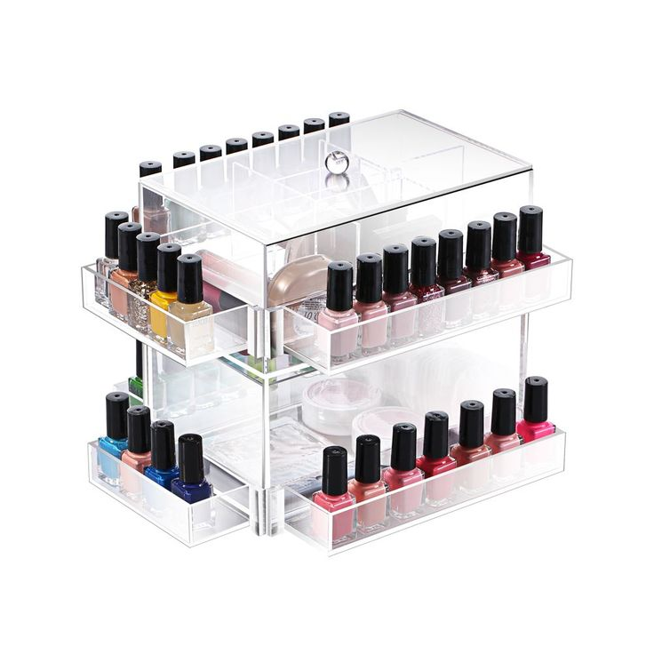 Organize lipsticks, nail polish, and other cosmetics neatly inside this makeup…