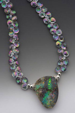 Hearts Afire. Australian Boulder Opal, Mystic Topaz, 14k White Gold with Diamonds. Elle Schroeder