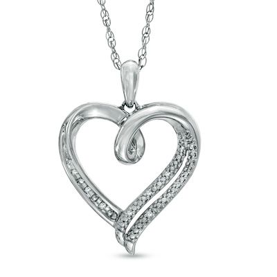 Diamond Accent Heart Pendant in Sterling Silver Avail at Zales