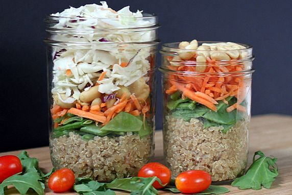 Asian Quinoa Salad-In-A-JarQuinoa #Saladinajar, Mason Jars Salad, Recipe, Asian Salad, Lite Food, Healthy, Asian Quinoa Salad In A Jars, Food Salad, Quinoa Salad In A Mason Jars
