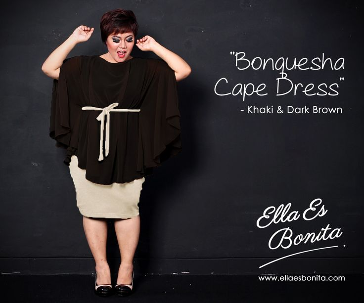 Bonquesha Cape Dress - This vintage dress features high quality wedges (inner) and chiffon (oute) which specially designed for sophisticated curvy women originally made by Indonesian Designer & Local Brand: Ella Es Bonita. Available at www.ellaesbonita.com