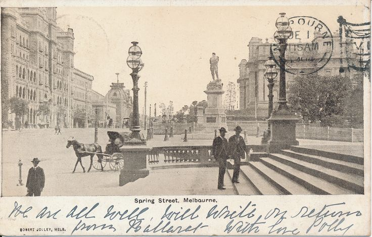 #PostcardThursdays  This week's postcard is from 'Polly', featuring beautiful Spring Street Melbourne in 1904. #besemerescollection #goldmuseum #sovereignhill #melbourne #history