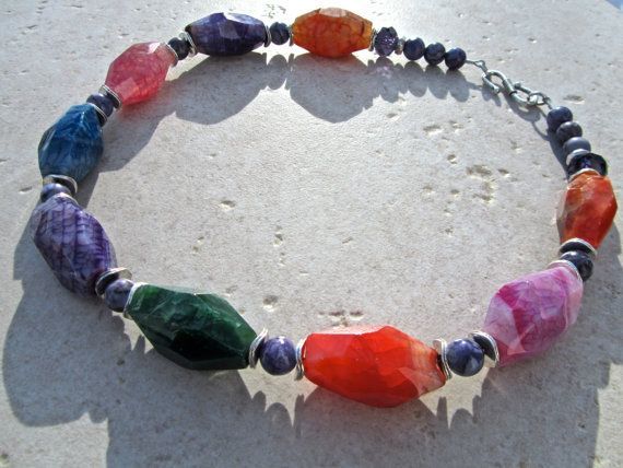 Chunky Statement Necklace Multi Colour Dragon Veins by PrairieIce