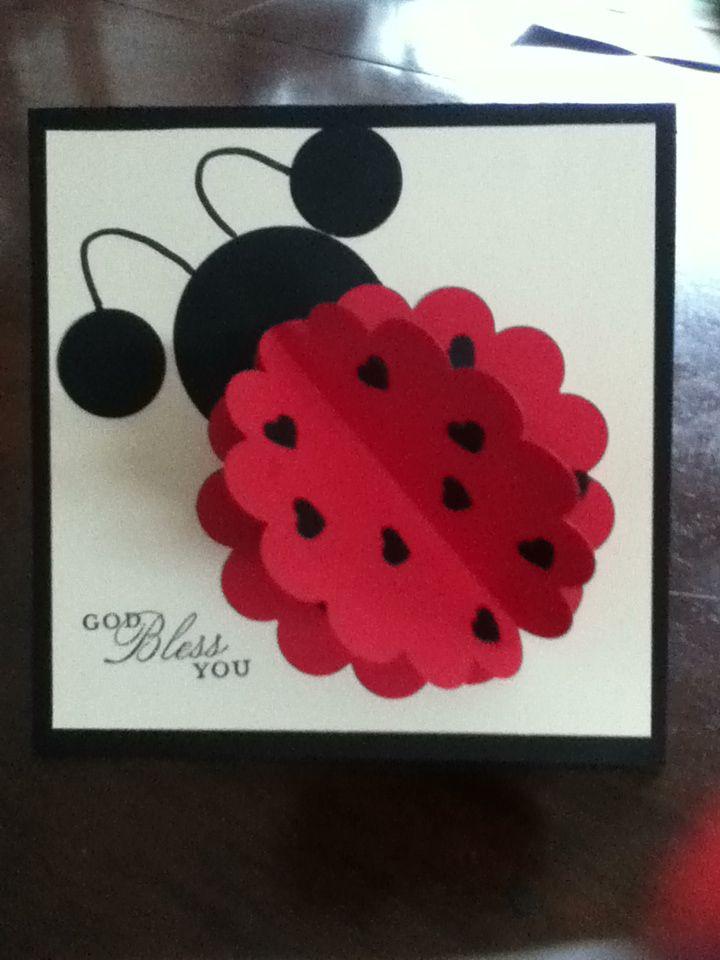 Ladybug scallop punch card