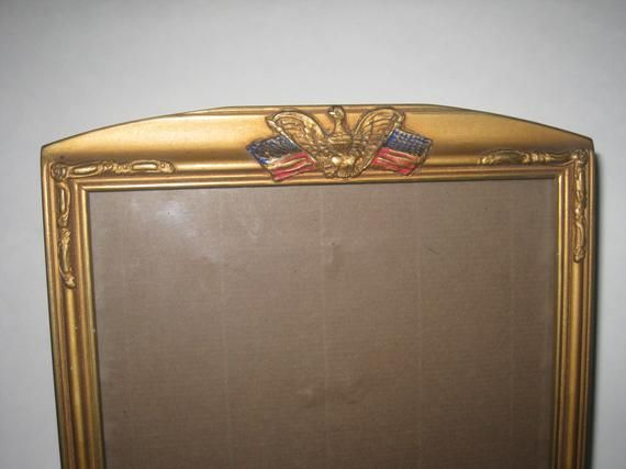 Wwii Military Picture Frame Brass Eagle American Flag 8 X 10