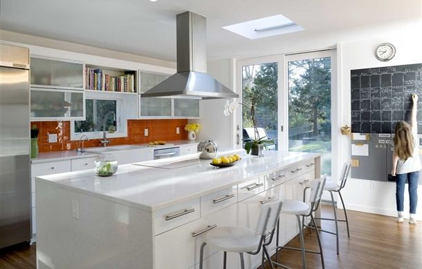 Our IKEA Share Space fan uses white ABSTRAKT to get the clean modern look in the kitchen.