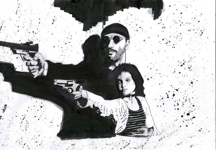 Leon y Mathilda - the professional  #theprofessional #leon #mathilda #portman #reno #jeanreno #art #artist #artfair #artgallery #black #bnw #blackandwhite #color #drawing #illustration #ink  #inspiration #mixedmediaart #paint ##portrait #portraits #portraiture #sketch #sketchbook #artsy  #watercolor #artoftheday  #artgallery