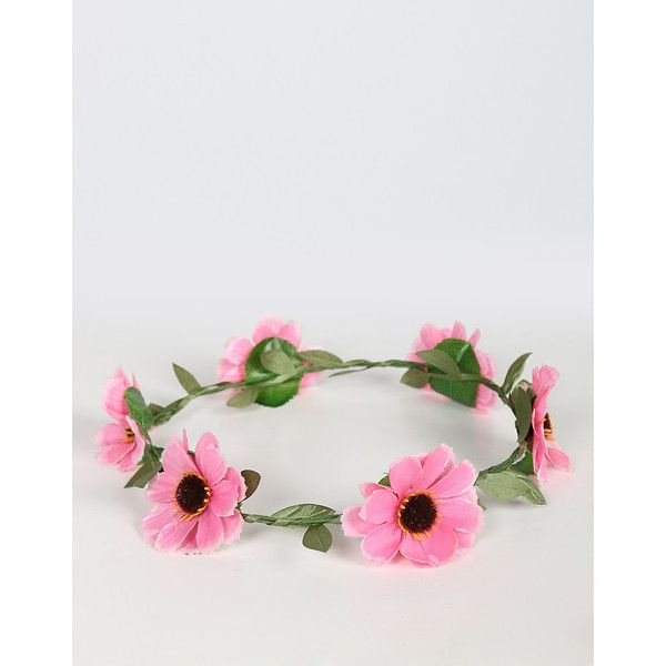 Cosmos Flower Crown ($8) ❤ liked on Polyvore featuring accessories, hair accessories, flower crowns, headwear, floral crown, floral garland, wire garland, pink garland and artificial garland
