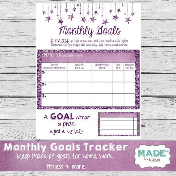 MONTHLY GOALS TRACKER, Planner Page, Life Planner, Business Planner, Workout Planner, Printable Stationery, Goal Digger, Younique Inspired