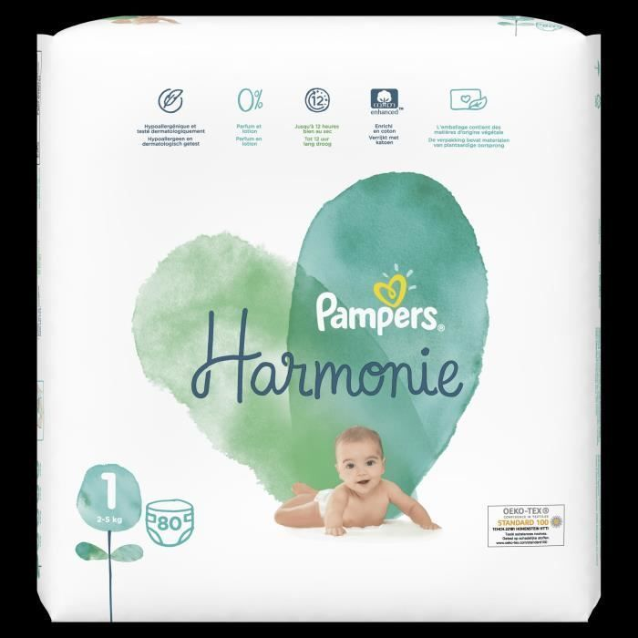 Pampers Harmonie Taille 1 80 Couches En 2020 Bebe Couche Pampers Couches