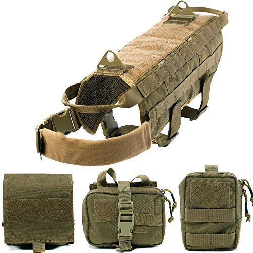 Pettom Tactical Dog Training Molle Vest Suits Harness with Detachable Pouches ** Read more at the image link.