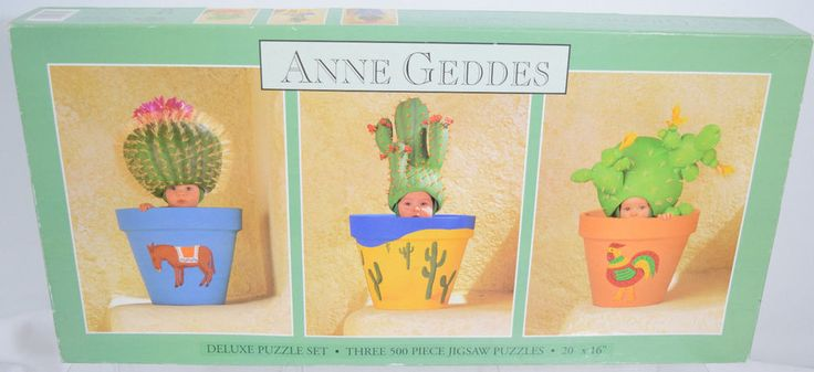 "Anne Geddes Puzzle Baby Flowers Cactus Planters Southwestern 20"" x 16"" 3 500 PC #Ceaco"