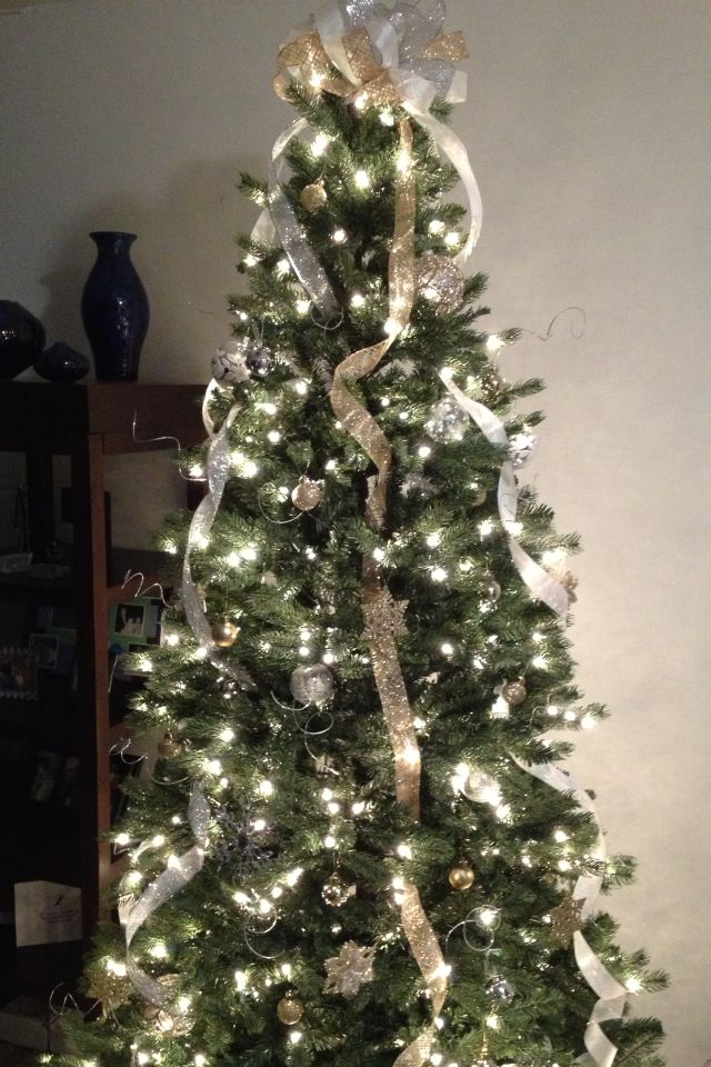 white and gold white and gold christmas tree