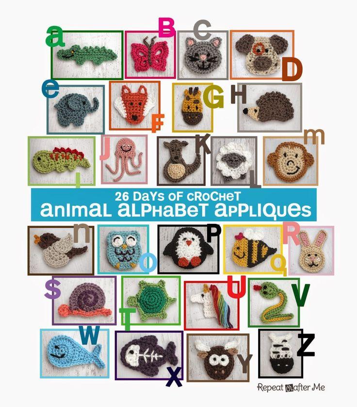 haak dierlijk alfabet appliques patroon