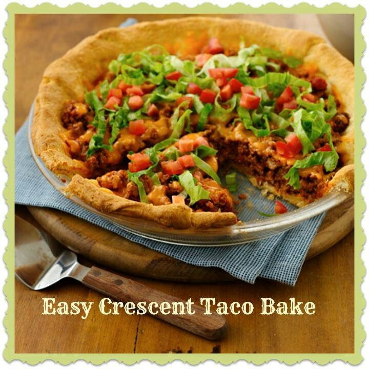 Crescent + ground beef + taco toppers + taco seasoning = one easy to make Mexican Taco Pie :) Sounds delicious!