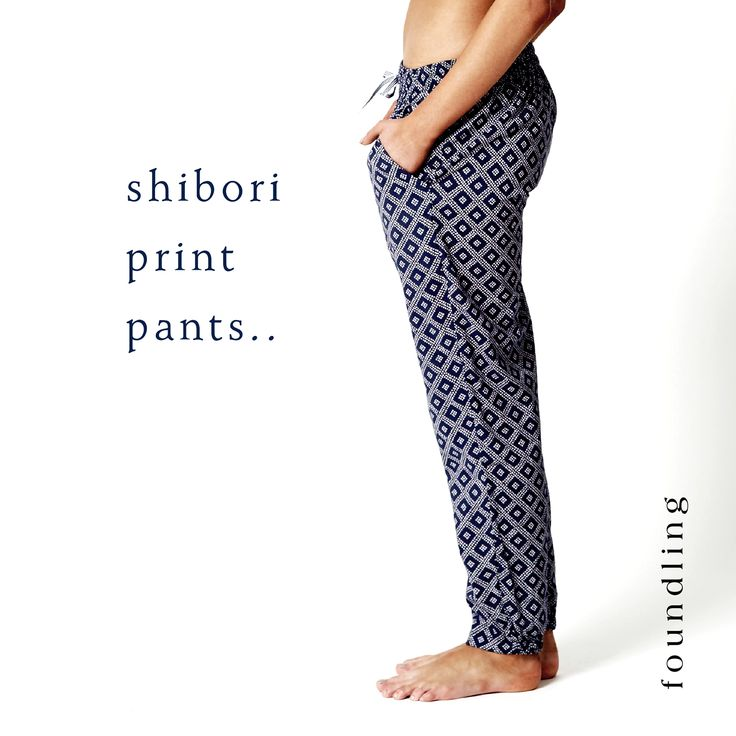 ..the ultimate in understated - supersoft, indigo shibori print pant with deep pockets, 3 channel elasticised waist & contrast stripe herringbone drawstring cord..tapered in at the ankle - we love shibori!..www.foundling.com.au