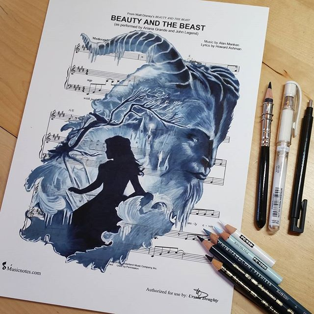 Beauty and the Beast 💙  This is my 500th post on Instagram  and it's again time for me to say THANK YOU ALL SO MUCH for more than 56.000 followers, for sharing, supporting and your overwhelming feedback that reaches me everyday!  #beautyandthebeast #beast #belle #taleasoldastime #waltdisney #beautyandthebeast2017 #disney #sheetmusic #drawing #fabercastell  #strathmorepaper #fabercastell9000 #polychromos #pittartistpen #prismacolor #portaitset #premiercoloredpencils #tombow #monozeroeraser…