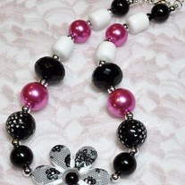 Black and Pink Flower Bubblegum Necklace  www.wittsendboutique.com