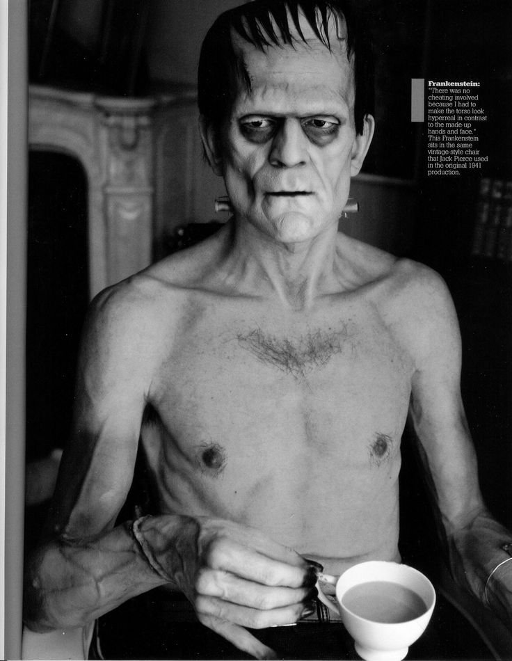 silicone Boris Karloff having tea by artist Mike Hill