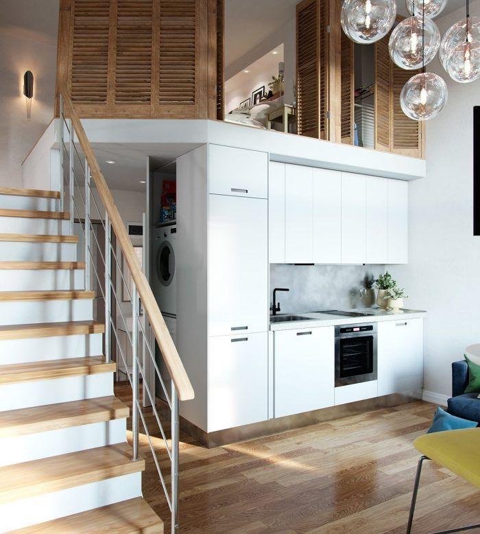 70 best Petits espaces optimisés images on Pinterest Small homes - hauteur entre meuble bas et haut cuisine