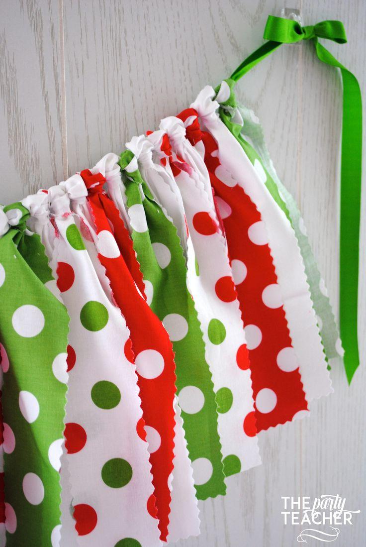 Grinch Christmas Tree Decorations - Christmas fabric bunting