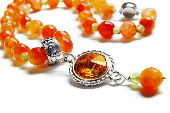 Orange Jade and Peridot Necklace Swarovski Necklace by harmony5