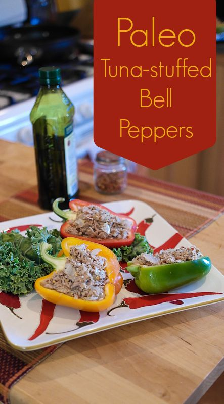 Paleo Tuna Bell Peppers and No Mayo Tuna Salad ... So good ! I'm not on the paleo diet so I added Swiss cheese to the top then baked it !