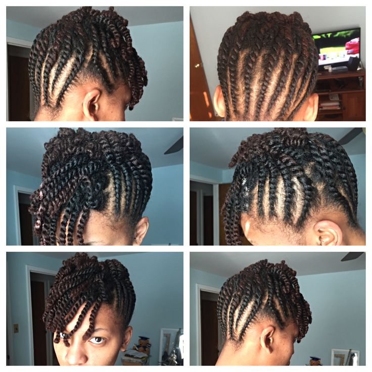 Flat Twist Updo with a Two Strand Twist Bang