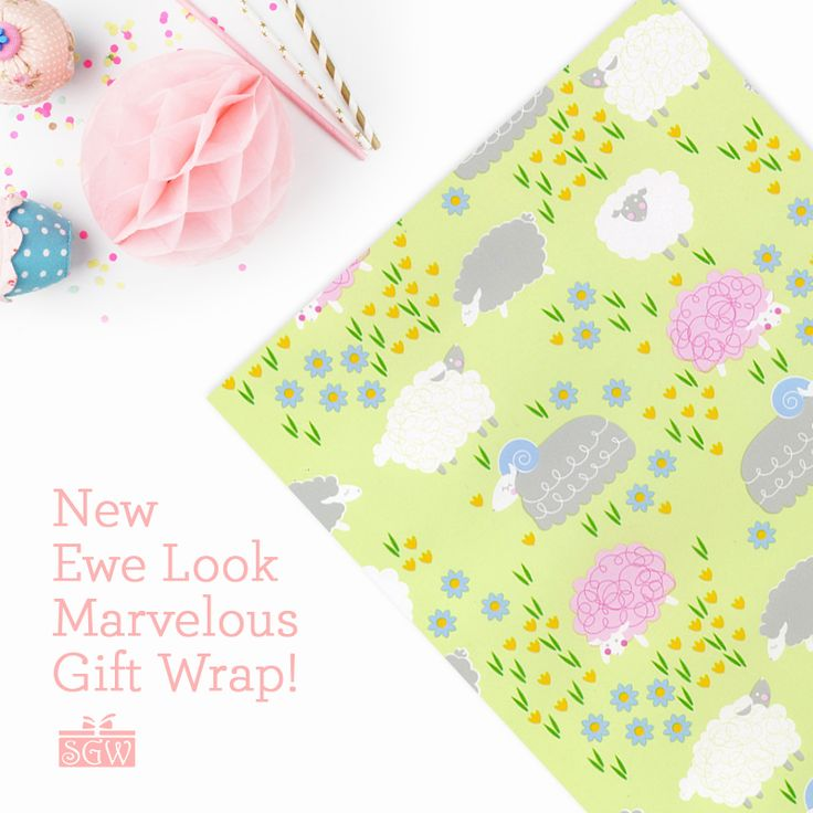 """Adorable Ewe Look Marvelous Gift Wrap! This fun, lovable pattern comes on luxurious #60 embossed paper and is available in 18"""", 24"""", 26"""" and 30"""" widths. Save 5% on every order with an online customer account!"""