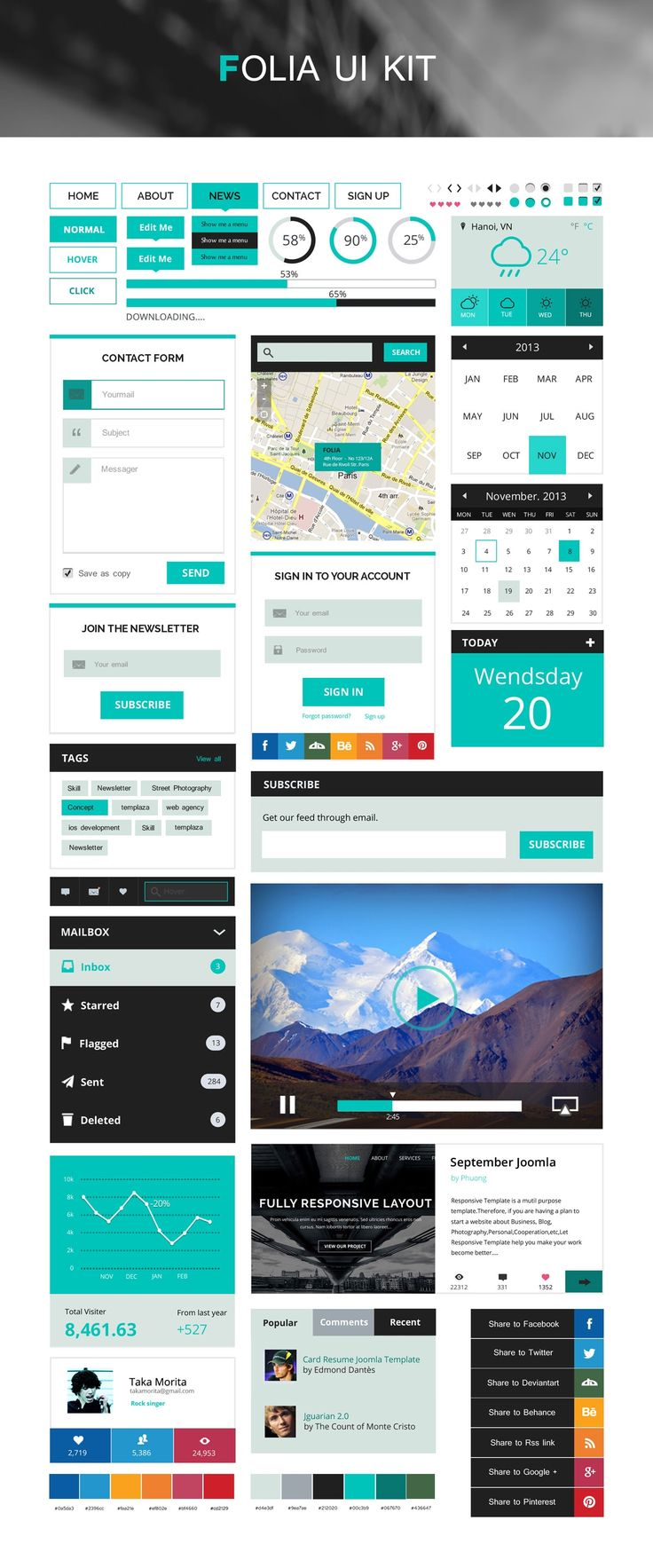 Based on Flat Design Style, Folia UI Kit is expected to satisfy all website developers thanks to its simplicity and high usability.