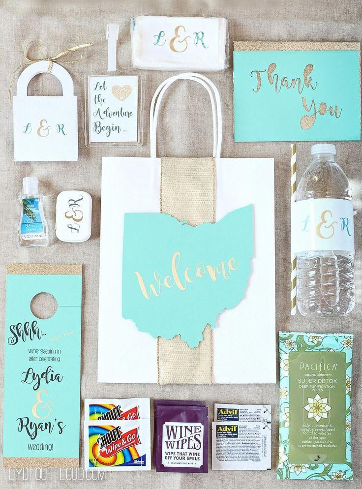These Personalized Wedding Guest Gift Bags Are Full Of Hotel Essentials And Wedding Guest Gifts Diy Wedding Guest Gift Bag Wedding Welcome Gifts