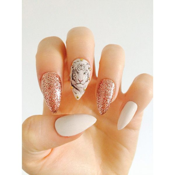 x Rose Gold Tiger x white tiger nails rose gold glitter nails white… ($12) ❤ liked on Polyvore featuring beauty products, nail care, nail treatments, nails and makeup