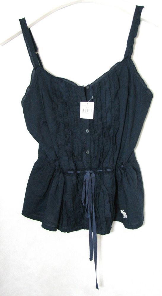 NWT Abercrombie & Fitch Navy Top Blouse Cami with Frills Size M  #AbercrombieFitch #TankCami #Casual