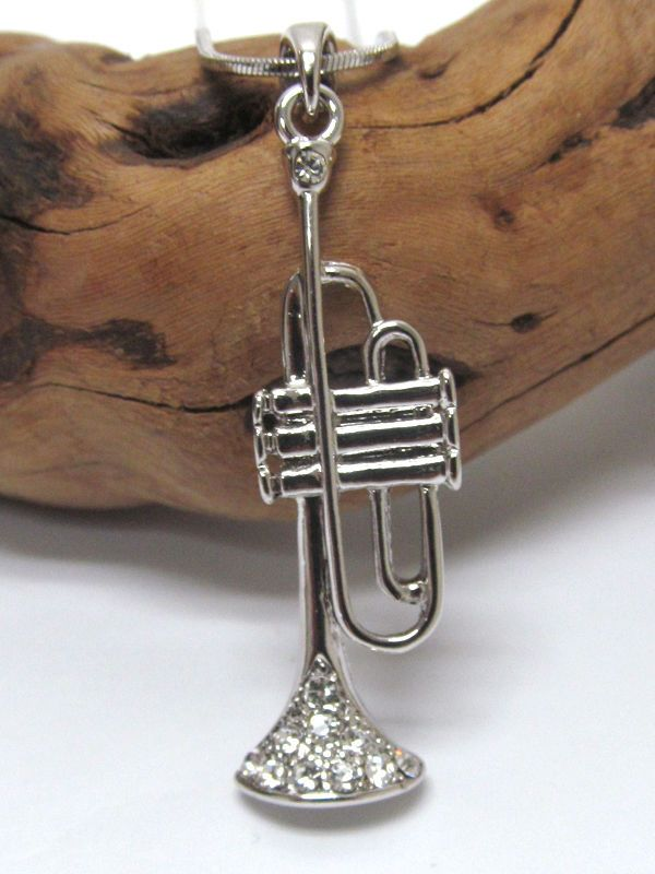 Trumpet Jazz Blues flat White Gold Plated Crystal Accent Music Pendant Necklace