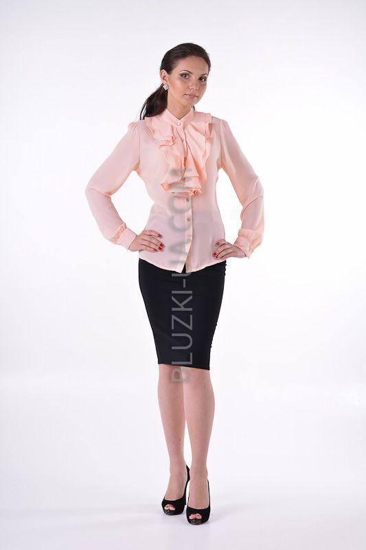 Нарядная персиковая блузка с двухслойным жабо из мягких волн и воротником-стойкой, купить онлайн. Интернет-магазин БЛУЗКИ UA, Украина - женская одежда и женские блузы.
