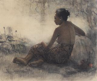 Huang Fong - Gadis duduk di Pinggir Koam (Het meisje zit naast de vijver), 1997.