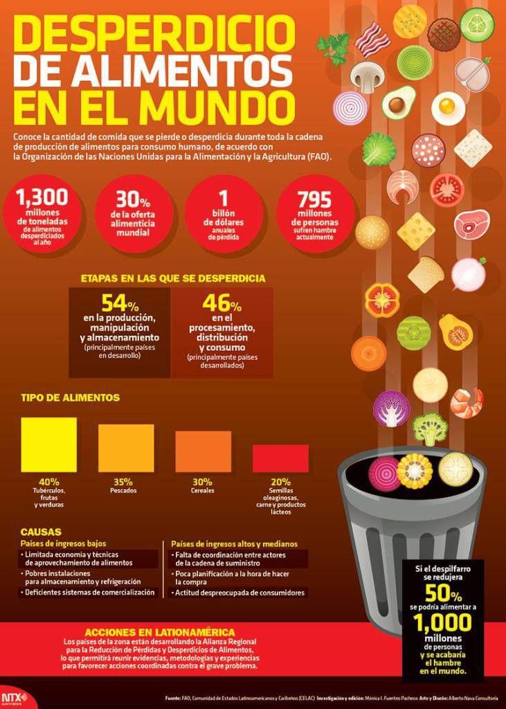 Conoce la cantidad de comida que se pierde o desperdicia durante toda la cadena de producción de alimentos para consumo humano de acuerdo con la Organización de las Naciones Unidas para la Alimentación y Agricultura (FAO).  Candidman   #Infografias Alimentos Candidman Desperdicio FAO Infografía Infografías @candidman