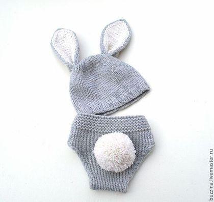Костюм для фотосессии, комплект для фотосессии, костюм зайчика, комплект зайчик, трусики на памперс, трусиках на подгузник, трусики для фотосессии, трусики для новорожденного,штанишки на подгузник.