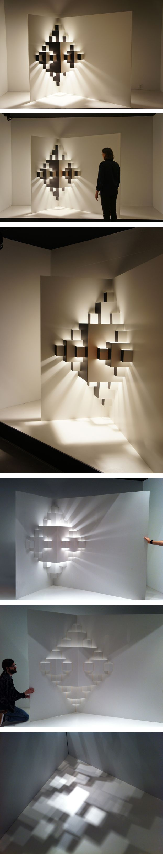 Well Well Designers. Pixel. Window display. light installation – paper Dimensions 2,5 x 3. http://www.wellwelldesigners.com/work/pixel