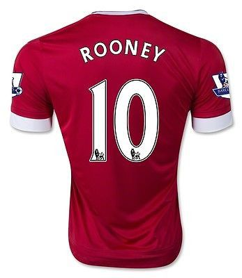 ADIDAS W. ROONEY MANCHESTER UNITED HOME JERSEY 2015/16 BARCLAYS PREMIER LEAGUE.