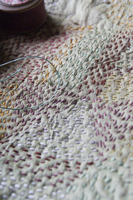 ***I like the idea of using varied colors of thread when doing simple stitching!