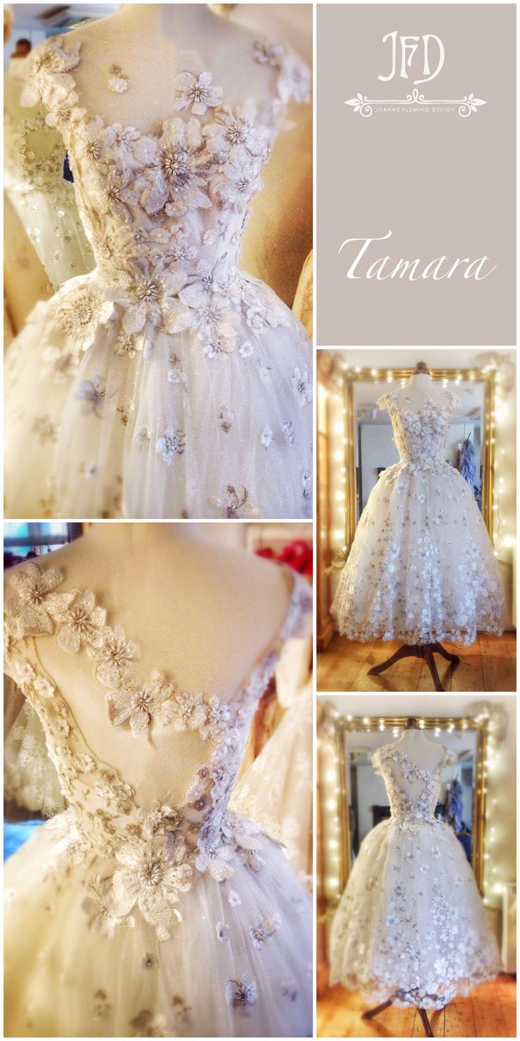 Flower embroidered tulle ballerina length wedding dress by Joanne Fleming Design
