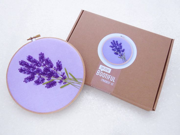 Lavender Embroidery Kit, Floral Embroidery Set, Wildflowers Hoop Art, Relaxation Gift For Her, Easy Hand Embroidery, Summer Embroidery Kit
