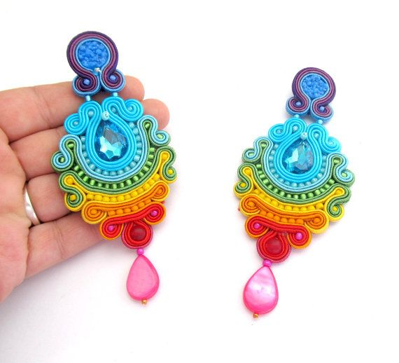 Colorful Long Clip On Earrings Unique by GiSoutacheJewelry