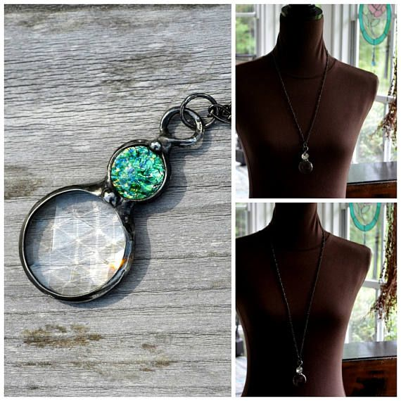 Looking for unique jewelry, youve come to the right place. These trendy kaleidoscope necklaces not only sparkle and are pretty but they have a unique type of kaleidoscope prism creating altered images through bevels cut in the glass. Hold it to your eye and turn giving a kaleidoscope image filled with a rainbow of colors in whatever you are looking at. The inset is an antique spotted opal inset that I purchased as new/old stock. The colors are stunning. Psychedelic imagery and geometric ...