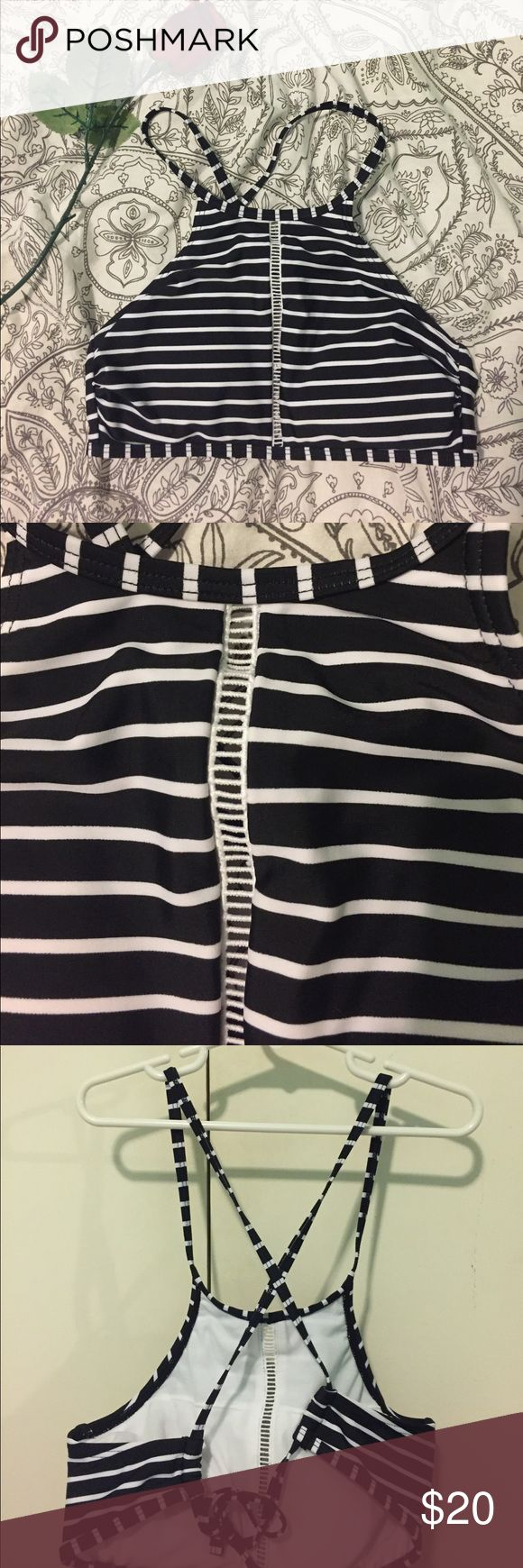 striped halter bathing suit top halter black and white bikini top!! never worn target Swim Bikinis